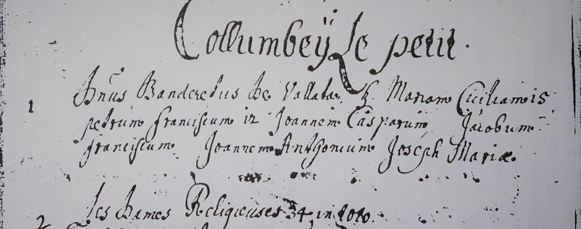 Liste des familles de la paroisse de Collombey en 1673